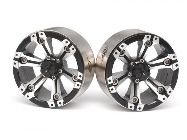Boom Racing CHROMA™ 1.9 High Mass Beadlock Aluminum Wheels Spoke-6 (2) Style A Black [RECON G6 The F