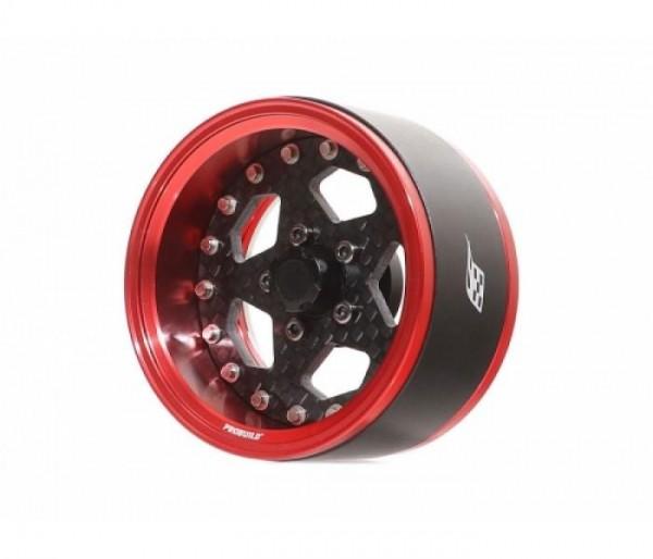 "Boom Racing ProBuild™ 1.9"" CFS5 Adjustable Offset Aluminum Beadlock Wheels (2) Red/Carbon Fiber"