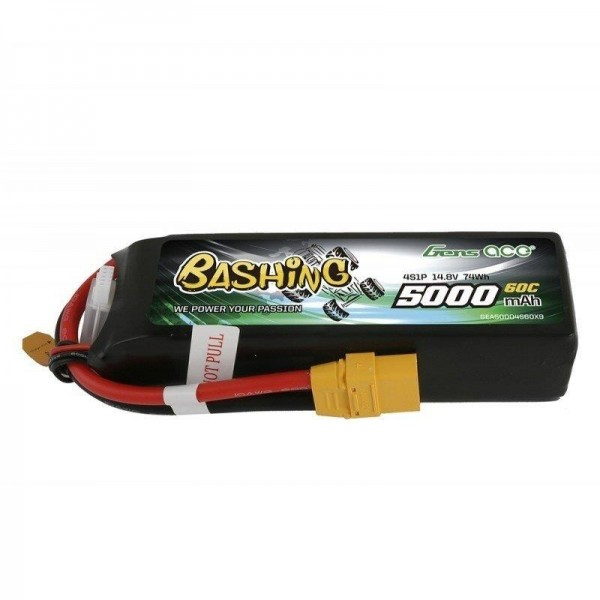 GENS ACE 4S 5000mAh 14.8V 4S1P 60C Lipo Battery Pack with XT90