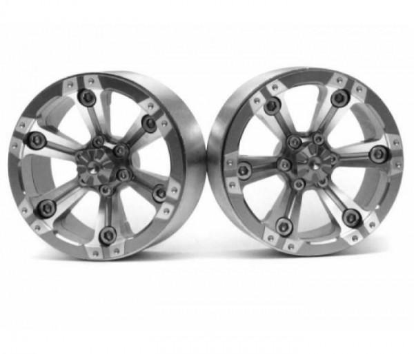 Boom Racing CHROMA™ 1.9 High Mass Beadlock Aluminum Wheels Spoke-6 (2) Style A Gun Metal [RECON G6 T