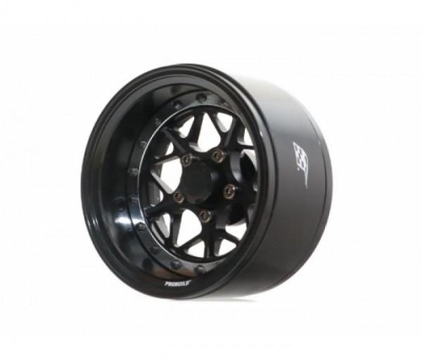 "Boom Racing ProBuild™ 1.9"" LGB Adjustable Offset Aluminum Beadlock Wheels (2) Black/Black"