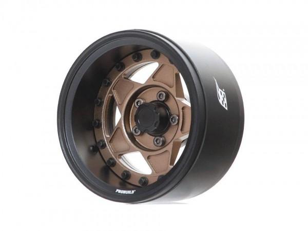 "Boom Racing ProBuild™ 1.9"" RTS Adjustable Offset Aluminum Beadlock Wheels (2) Matte Black/Matte Bron"