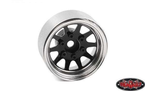 OEM 6-Lug Stamped Steel 1.55 Beadlock Wheels (Black&Chrome) RC4WD