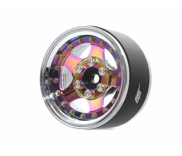 "Boom Racing ProBuild™ 1.9"" SV5 Adjustable Offset Aluminum Beadlock Wheels (2) Chrome/Neo Chrome"