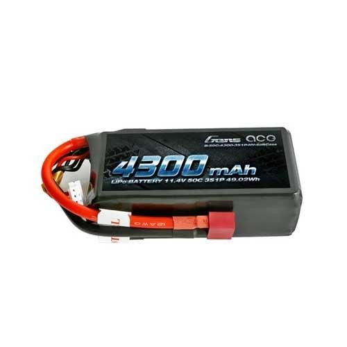 Gens Ace 4300mAh 3S1P 11.4V 50C Lipo Battery with T-plug